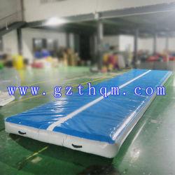 8m x 3m salle de gymnastique gymnastique adulte de la formation voie de l'air gonflable en PVC bleu