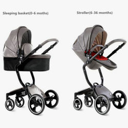 Оптовая торговля роскошь в европейском стиле моды кожи малыша Stroller высокого пейзаж с en1888