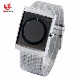 Kreative Edelstahl-Ineinander greifen-Eisen-Schwenktisch-Armbanduhr #V436