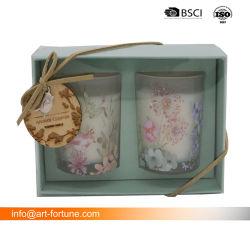 Conjunto de 2 velas perfumadas Dom Set com papel adesivo para decoração