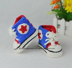 Tecidos artesanais do bebê Capitão América Hat e calçado desportivo suave