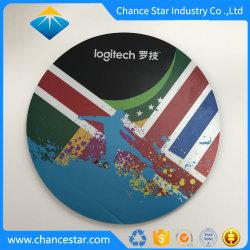 El logo impreso personalizado de la superficie de goma redondo de plástico duro Mouse Pad