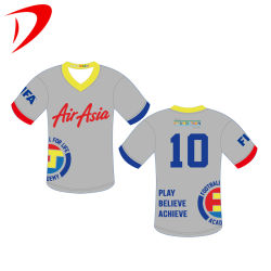 Uniformen van het Voetbal van China de Fabriek Aangepaste Jersey van de Teams van Europa van de Overhemden van de Slijtage van de Gymnastiek van de Sportkleding van de T-shirts van de Club van het Voetbal van de Polyester van Beadling van fabrikanten