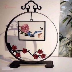 東洋のアジア芸術およびクラフト二重スクリーン手の刺繍のホーム装飾