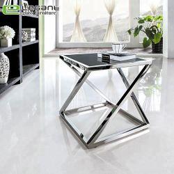 금속 부류 사각 유리제 옆 테이블을 강화하십시오