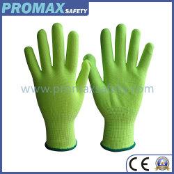 13のゲージの緑のナイロンポリエステル継ぎ目が無い編まれた安全手袋のシェル