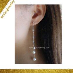 تصاميم الزفاف سلسلة مجوهرات فضة محاجر مع نجمة 9K 14K 18 كيلو مجوهرات الذهب الأبيض جدارية اللؤلؤ إارينج للبنات