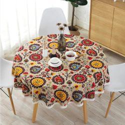 Nordic Polyester Coton chiffon de la Table ronde de couleur jaune du riz mot flèche grise Coton et lin nappe d'impression