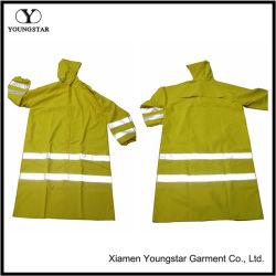 Hi Vis долго трость водонепроницаемая куртка с ПВХ Желтая отражательная безопасности