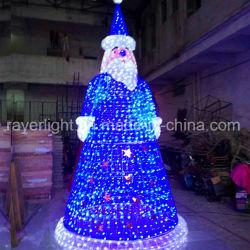 4m de altura en el exterior de la decoración de Navidad de enorme jardín de luz LED de Santa
