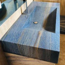 Parti superiori blu di vanità del granito di Azul Bahia Brasile per la stanza da bagno