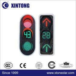 CE RoHS 200 مم 300 مم أحمر 400 مم أصفر أخضر ثلاثة ألوان يتضمن ضوء إشارة المرور بالطاقة الشمسية الذكي بالكرة الكاملة سهم مؤقت العد التنازلي