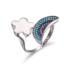 Dessins et modèles de fleur 925 Sterling Silver avec anneau Turquoise