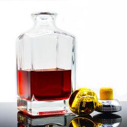空のガラスビンのウィスキーのデカンター750mlの高品質のゆとりのカスタムガラスアルコール飲料のびん
