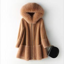 Китай производители новейший слой мех женщин с Red Hat мех покрыть женщин зимой элегантный тонкий слой шерстяного покрова в режиме реального