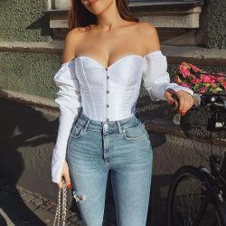 Горячий распродать плечо Corset культуры верхней косой чертой Tassel Strapless носовой части шеи Backless длинной втулки женщин рубашку и блуза