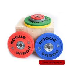Exercício de emagrecimento competitiva halteres colorido conjuntos de borracha personalizados de alta qualidade Placas de choques de peso