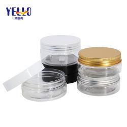personalizado Pet plástico claro 50ml 250ml de creme facial de tampa de alumínio dourado jarro vazio