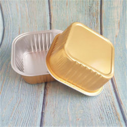 Goldhochwertige Zinn-Tafelgeschirr-Folie beschichteter verdickter rechteckiger Nicht-Gefalteter Aluminiumfolie-Mahlzeit-Kasten-Kreisverpackenkasten