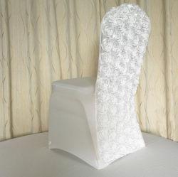 Voltar Roseta acetinado branco Cadeira de casamento de licra coberturas para eventos decoração de terceiros