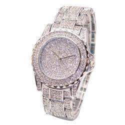 De Horloges van de Vrouwen van de Polshorloges van het Kwarts van het Roestvrij staal van de Luxe van de Manier van het Horloge van de Riem van het Kristal van de Diamanten van Bling van de Dames van vrouwen