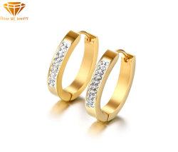 Серьги европейских и американских ювелирных изделий из нержавеющей стали золотые серьги Earring простые дамы серьги с стразами Er9215