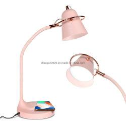 Späteste Entwurfs-Farbe, die LED-Tisch-Lampe mit der Qi-drahtlosen Aufladung und USB für Hauptdekor-Wohnzimmer-Anzeige ändert