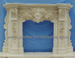 屋内装飾(QY-LS256)のための暖炉を切り分けるホーム装飾的で自然な石造りのマントルピースの大理石の環境