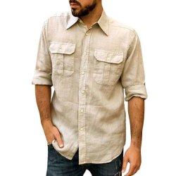 ポケットが付いている実業家の長い袖のための落下ワイシャツ
