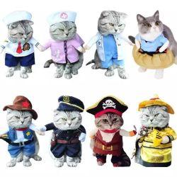 Funny Cat Dog Roupas Vestuário Pet Cosplay Encenação Suit Pirate se adequar o Dia das Bruxas roupas vestir o gato traje de festa prensa