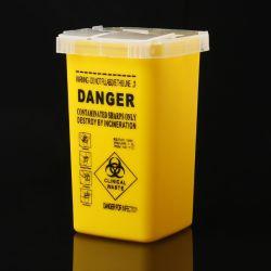 Decalque de plástico Médico Biohazard Agulhas Eliminação dos resíduos de 1L Farelos Containers
