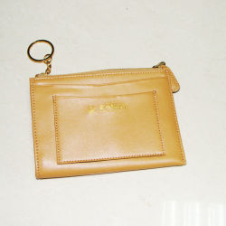 キーホルダーが付いている本革のジッパーの女性の財布の硬貨の札入れ