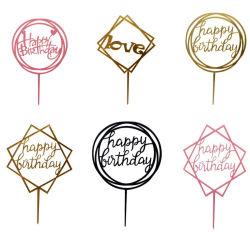 De in het groot Decoratie van het Decor van de Partij van de Toevoeging van de Kaart van het Tussenvoegsel van de Cake van de Verjaardag van het Ontwerp Gelukkige Acryl