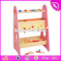 L'insieme di strumento di legno dei capretti di nuovo della costruzione colore rosa educativo del gioco con personalizza W03D087