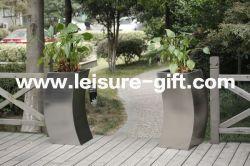 Fo-9027 Usine Pot de fleurs en acier inoxydable avec Curvy Style carré