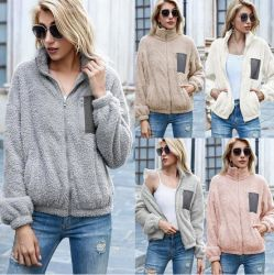 양면 벨벳 탑 컬러 매칭 지퍼 카디건 플러쉬 스웨터 재킷 여성용′ S 웨어 2021