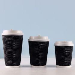 コーヒー茶のためのさざ波の壁の波形のコップの使い捨て可能なコップ
