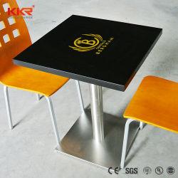 レストランのファースト・フードのロゴの人工的な石造りの黒または白いダイニングテーブル