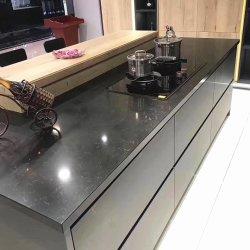 Comptoir de granit noir de dalles préfabriquées en gros de quartz Tops cuisine haut de la vanité de l'île comptoir en marbre