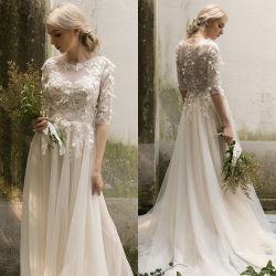 軽くて柔らかいレースのウェディングドレスのAラインのO襟足3/4の袖浜のBohoの花嫁の服H17237