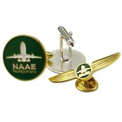 Uniformes personalizados fabricante de aviones insignias Botón Decoración Regalo Promocional Empresa Prendedores Metal Soft enamel Cufflink Camiseta Hombre en la cadena