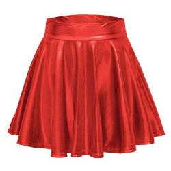 Дамы летом сплошным цветом PU моды повседневный мини-юбки гофрированный