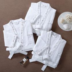 100%年の綿のワッフルの織り方ローブの着物の鉱泉の浴衣の中国製ダイヤモンドパターン男女兼用ローブ