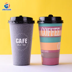 500ml espuma descartáveis de café e leite chávena de chá com Anti-Hot e isolamento térmico Package e Tampa