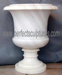 La Chine usine Jardin Prix de gros de marbre blanc urnes Pots de fleurs de pierre (BAA007)