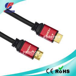 1080P Gold Metal HDMI Plug Cable mit Net mit Ferrite (pH6-1212)