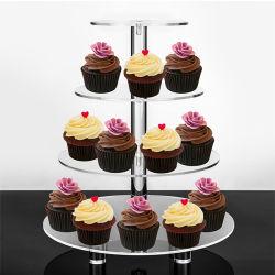 L'acrylique Cupcake Stand Personnalisé 4 5 6 7 Tier Crystal Clear acrylique gâteau de mariage ronde Cupcake stand stand de l'acrylique 4 Tier gâteau de mariage ronde Stand