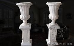 حديقة منزل لطيف تزيين عالية الجودة حديقة الرخام الأبيض وعاء الزهرة / حجر بلانتر في المخزون