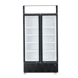 Porta de vidro duplo o refrigerador de garrafas para bebidas