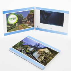호텔 프로젝트를 위한 도매 인쇄 7 인치 LCD TFT 스크린 영상 브로셔 카드 상자 부동산 소형 디지털 브로셔 책